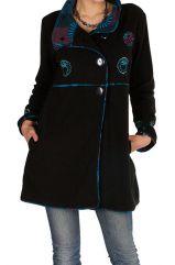 Manteau long  en 100% polaire à boutons et col montant Noir Tisha 299880