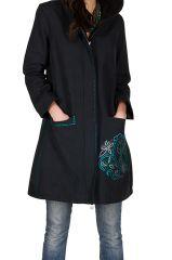 Manteau long en coton avec doublure polaire et broderie Bleu marine Filipa 299857