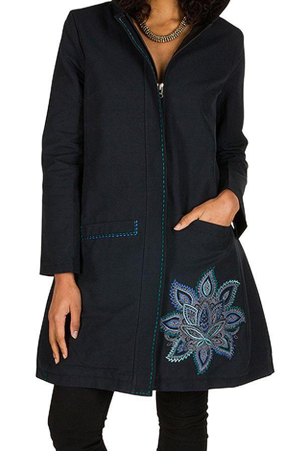 Manteau long en coton avec doublure polaire et broderie florale Bleu marine Mariona 300277