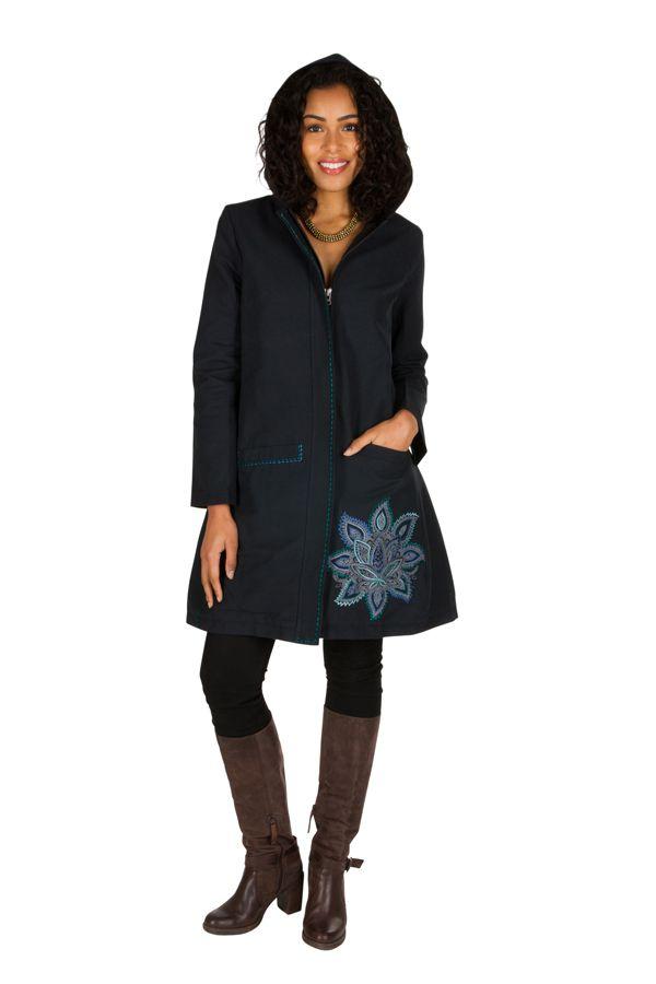 Manteau long en coton avec doublure polaire et broderie florale Bleu marine Mariona 300278
