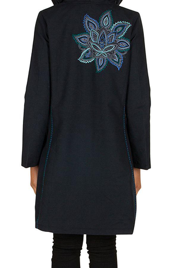 Manteau long en coton avec doublure polaire et broderie florale Bleu marine Mariona 300279