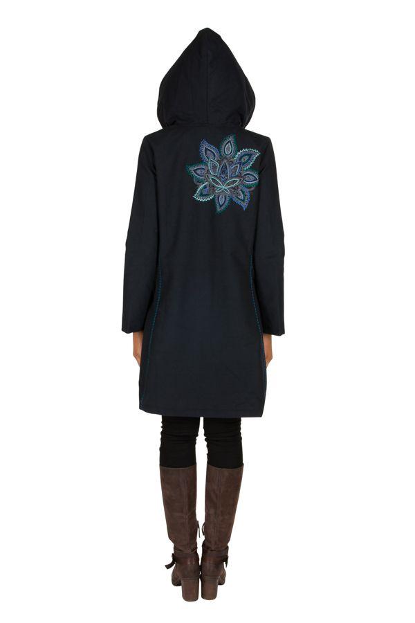 Manteau long en coton avec doublure polaire et broderie florale Bleu marine Mariona 300280