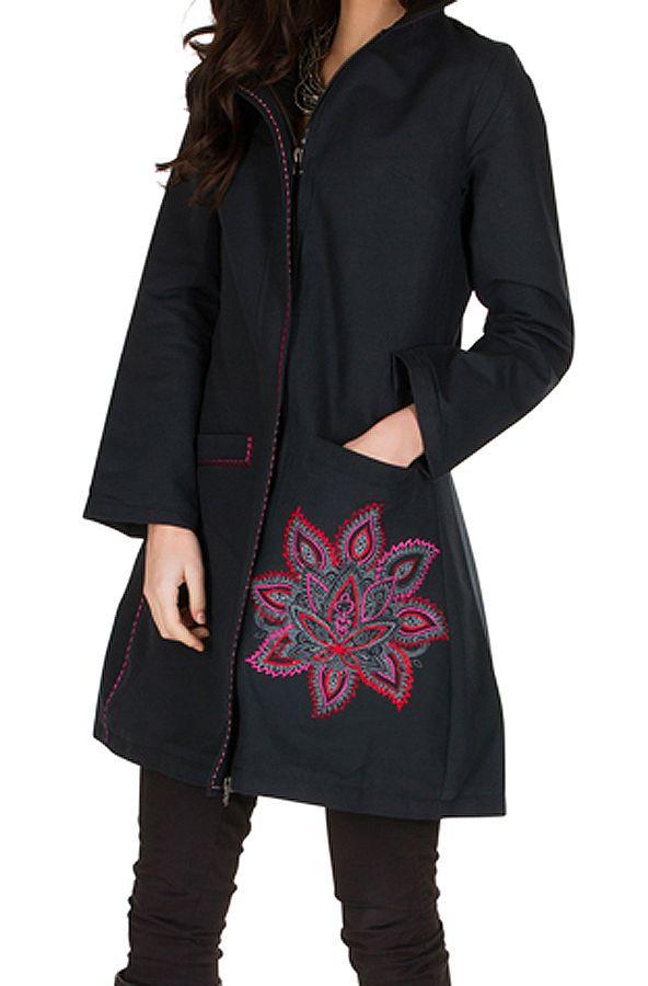 Manteau long en coton avec doublure polaire et broderie florale Rose Mariona 300289