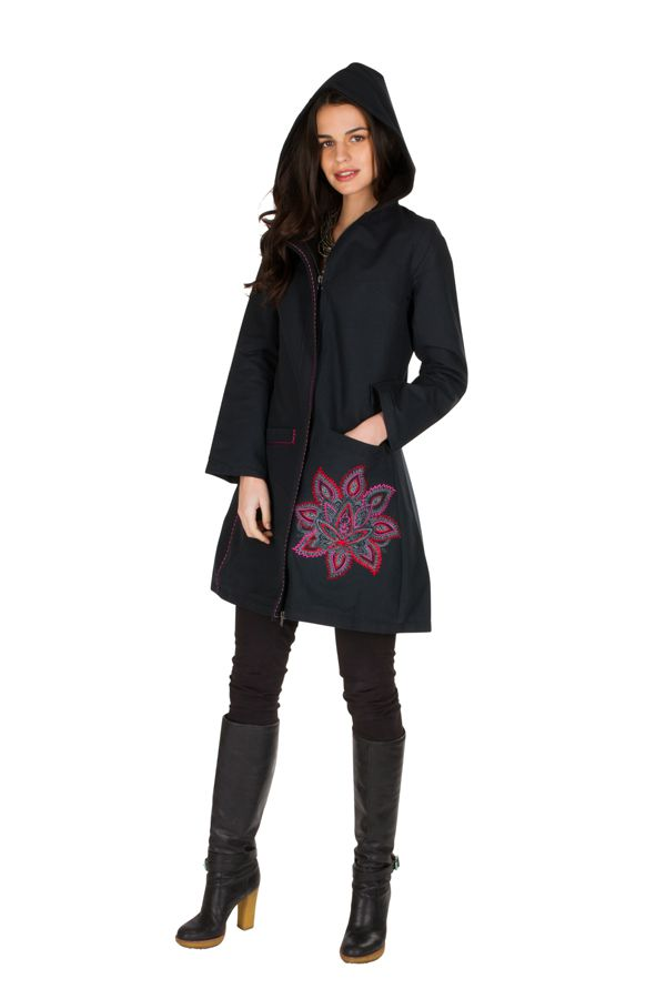 Manteau long en coton avec doublure polaire et broderie florale Rose Mariona 300290