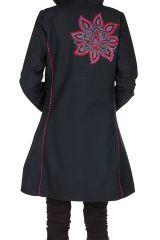 Manteau long en coton avec doublure polaire et broderie florale Rose Mariona 300291