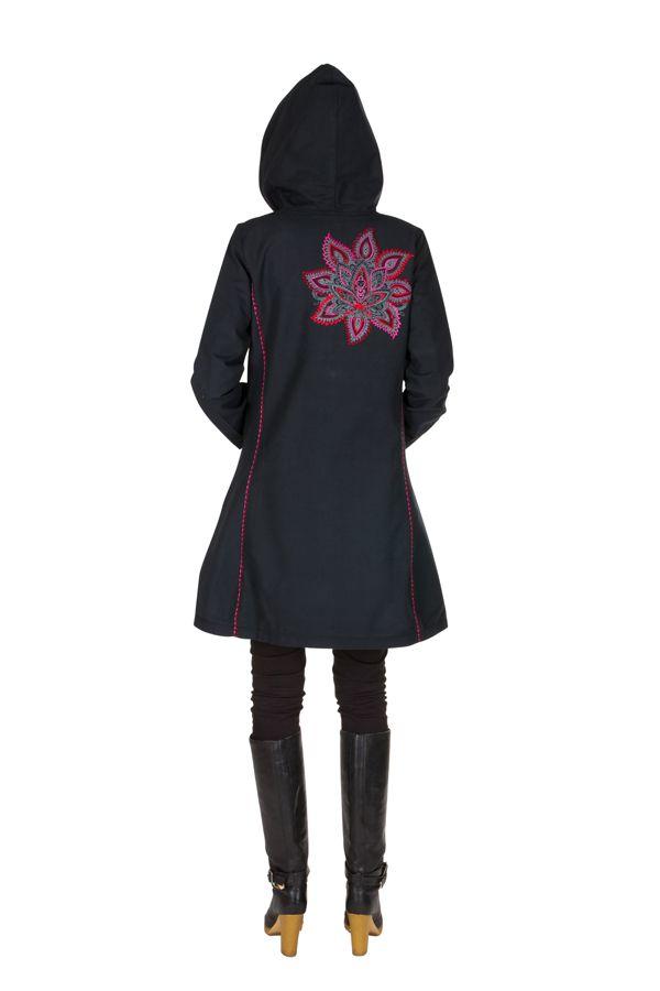 Manteau long en coton avec doublure polaire et broderie florale Rose Mariona 300292