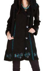 Manteau long en polaire à boutons avec une capuche  Noir Arkensas 300530