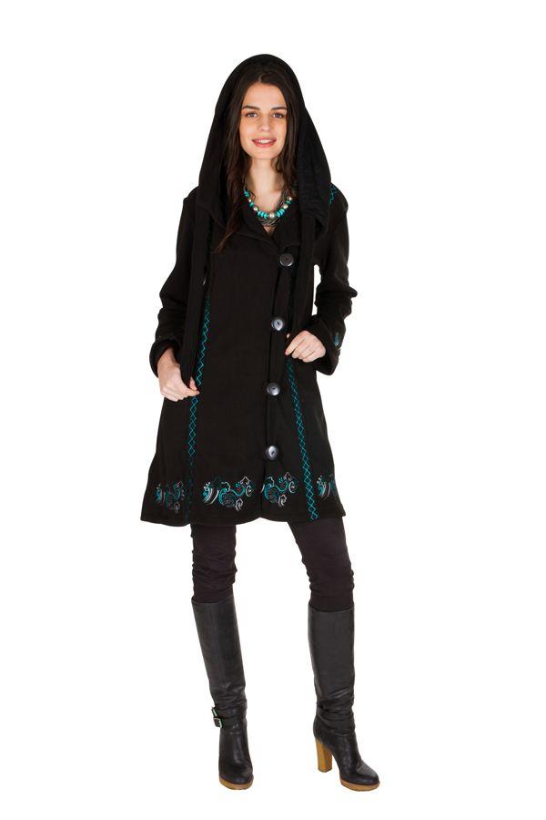 Manteau long en polaire à boutons avec une capuche  Noir Arkensas 300531