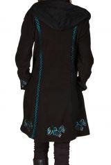 Manteau long en polaire à boutons avec une capuche  Noir Arkensas 300532