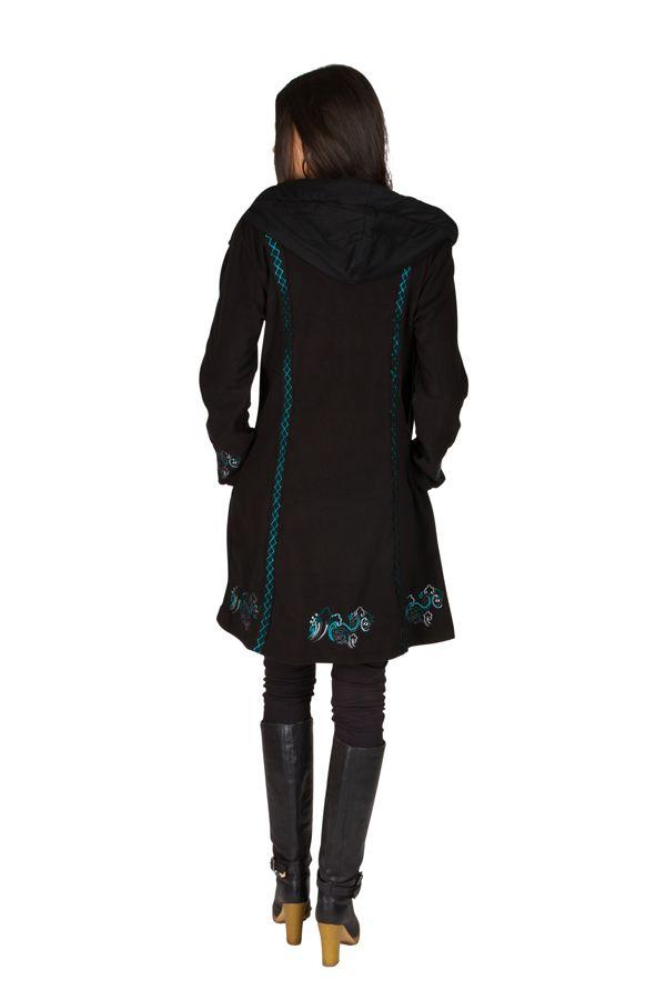 Manteau long en polaire à boutons avec une capuche  Noir Arkensas 300533