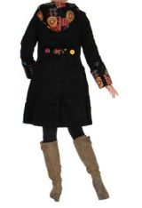 Manteau long ethnique en velours spilou noir 265299