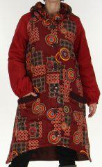 Manteau Long Ethnique et Asymétrique pour Femme Adamar Bordeaux 278011