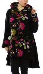 Manteau long grande taille ethnique en laine Maxine Noir 303771