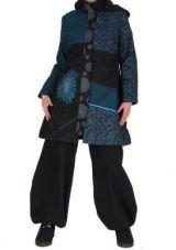 Manteau long noir et bleu original aroma 265494