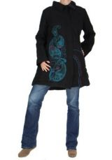 Manteau long noir ethnique lagano 265251
