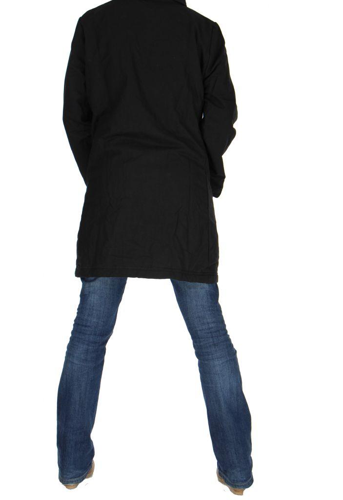 Manteau long noir ethnique lagano 265252