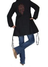 Manteau long noir ethnique maya 265248