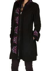 Manteau long original en 100% polaire et broderie florale Mirena 300314