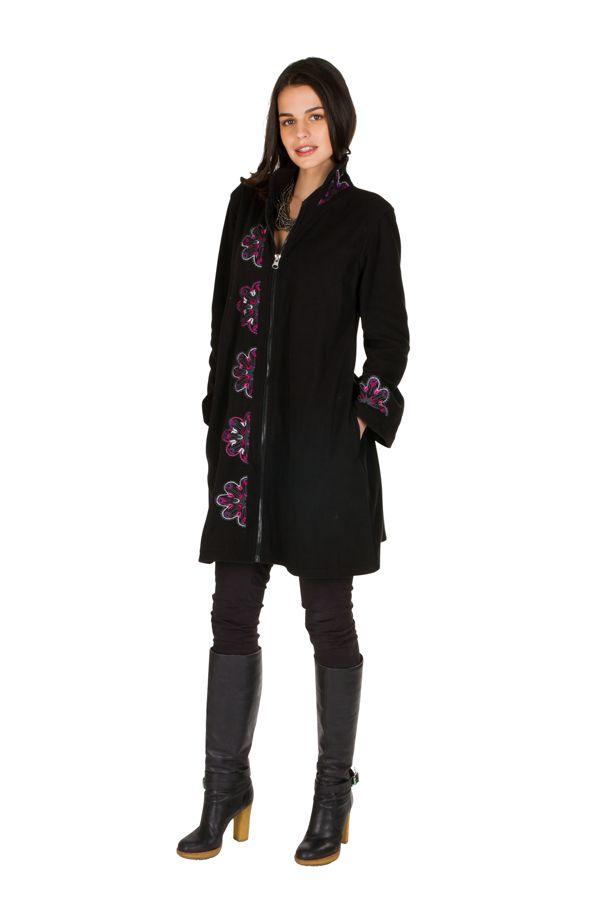 Manteau long original en 100% polaire et broderie florale Mirena 300315