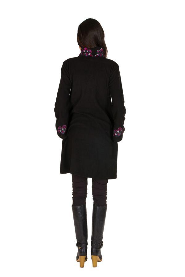 Manteau long original en 100% polaire et broderie florale Mirena 300317