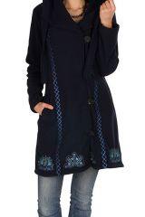Manteau long polaire fantaisie à boutons et capuche Bleu marine kendall 300545