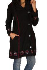 Manteau long polaire fantaisie à boutons et capuche Noir&Rouge Larina 300571