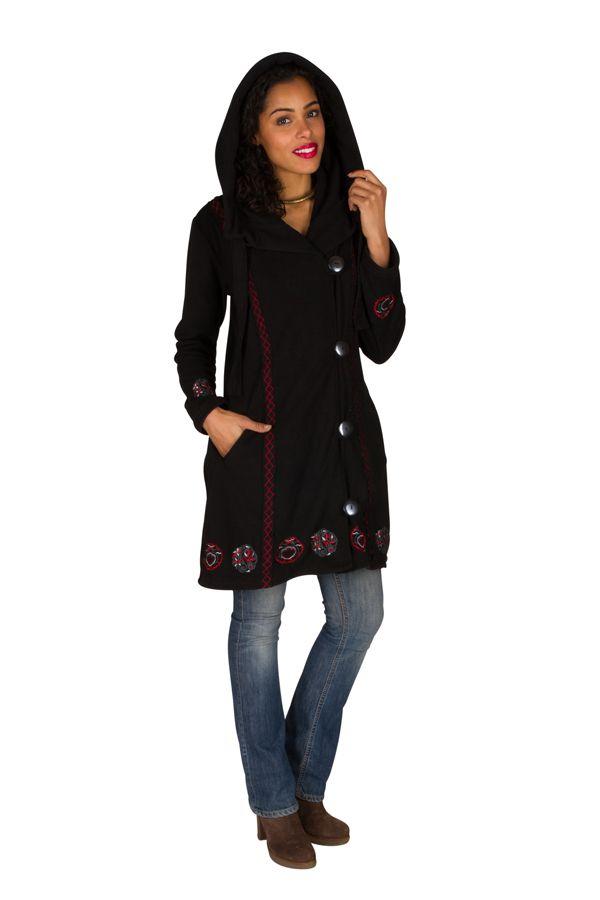 Manteau long polaire fantaisie à boutons et capuche Noir&Rouge Larina 300572