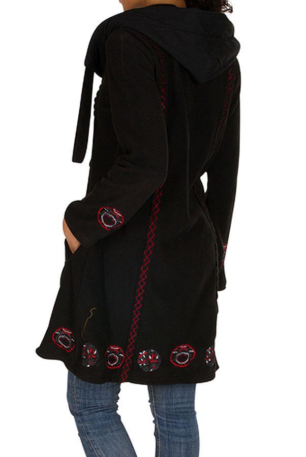 Manteau long polaire fantaisie à boutons et capuche Noir&Rouge Larina 300573