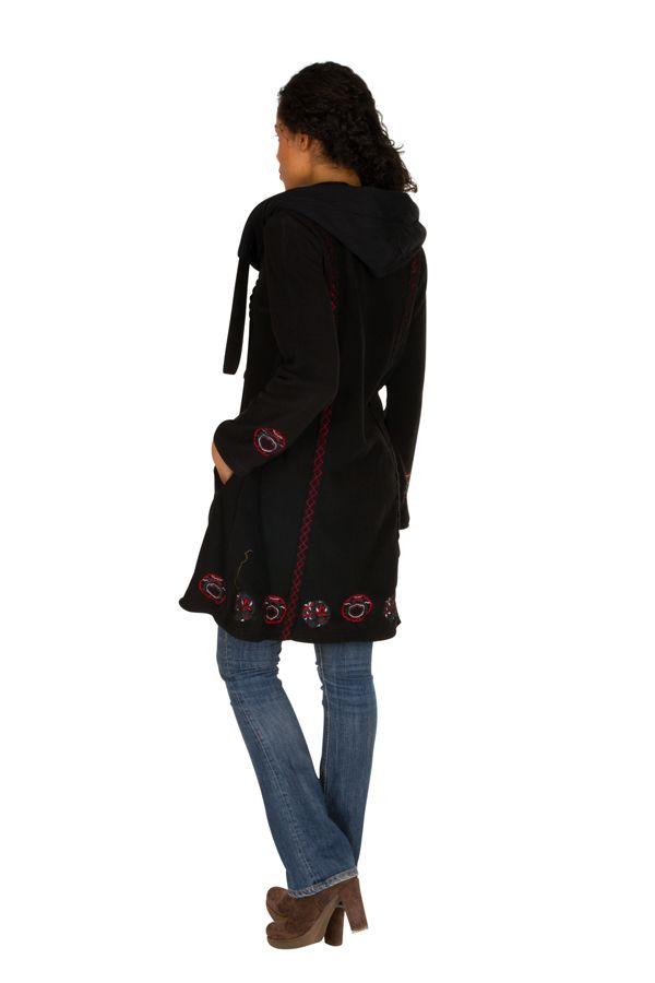 Manteau long polaire fantaisie à boutons et capuche Noir&Rouge Larina 300574