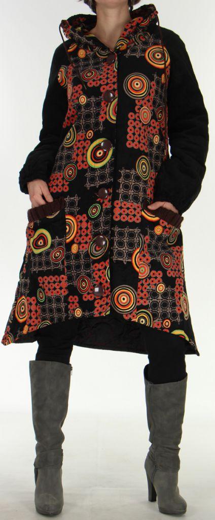 Manteau Long pour Femme Ethnique et Asymétrique Adamar Noir 278009