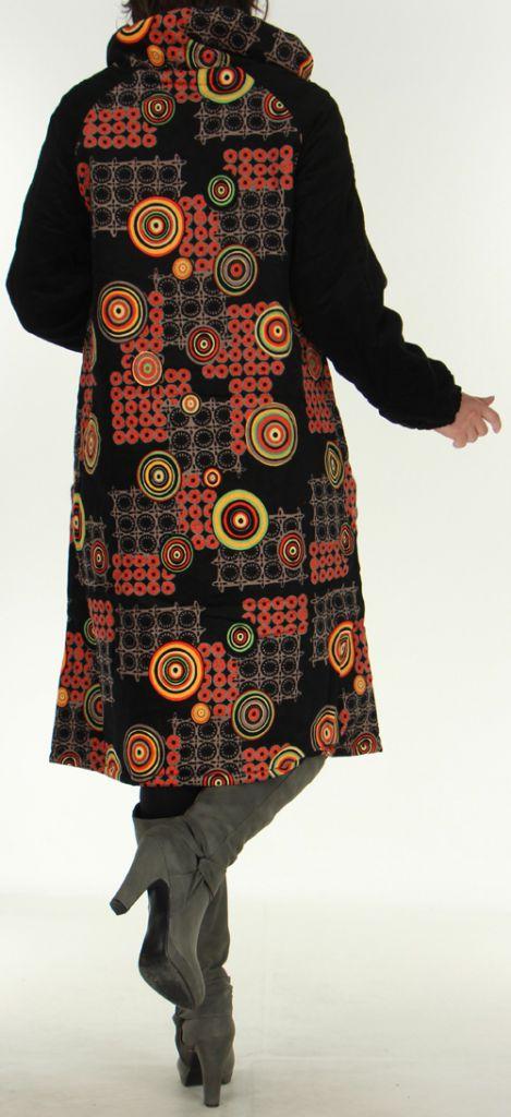 Manteau Long pour Femme Ethnique et Asymétrique Adamar Noir 278010