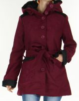 Manteau mi-long à capuche Original et Coloré Chanty Prune 277675