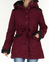 Manteau mi-long à capuche Original et Coloré Chanty Prune 277675
