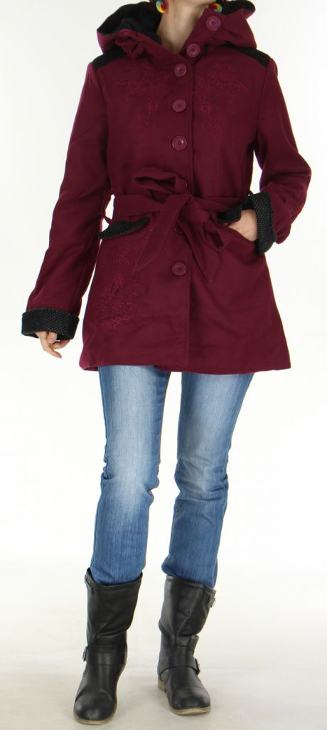 Manteau mi-long à capuche Original et Coloré Chanty Prune 277676