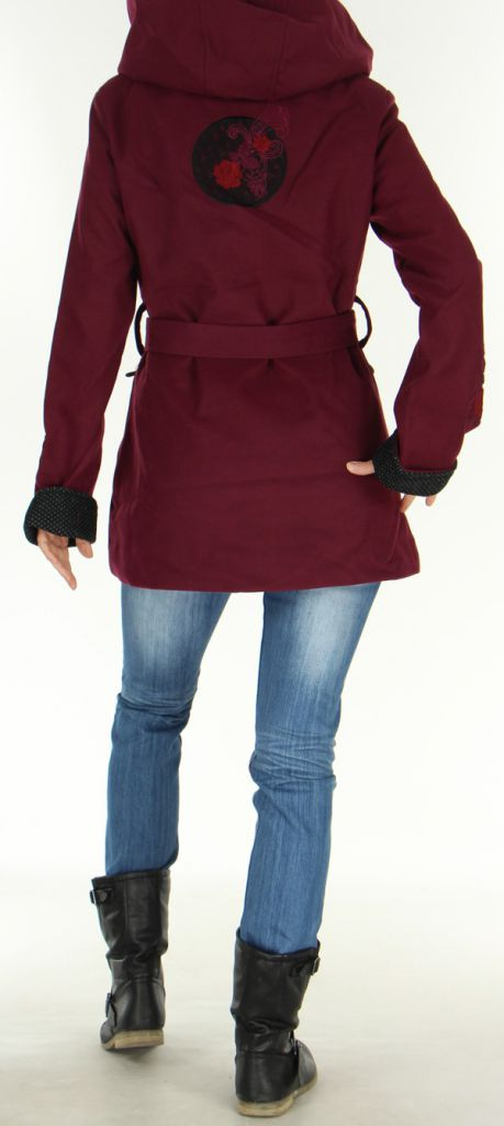 Manteau mi-long à capuche Original et Coloré Chanty Prune 277677