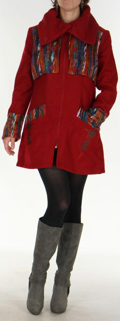 Manteau mi-long aspect Laine Ethnique et Coloré Sékou Rouge 277938
