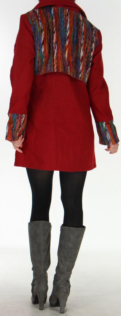 Manteau mi-long aspect Laine Ethnique et Coloré Sékou Rouge 277939