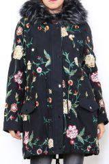 Manteau mi-long noir femme original et coloré Galou 304242