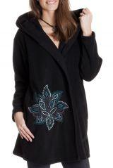 Manteau Noir en Polaire Collection Chic pour Femme Vanille 286860