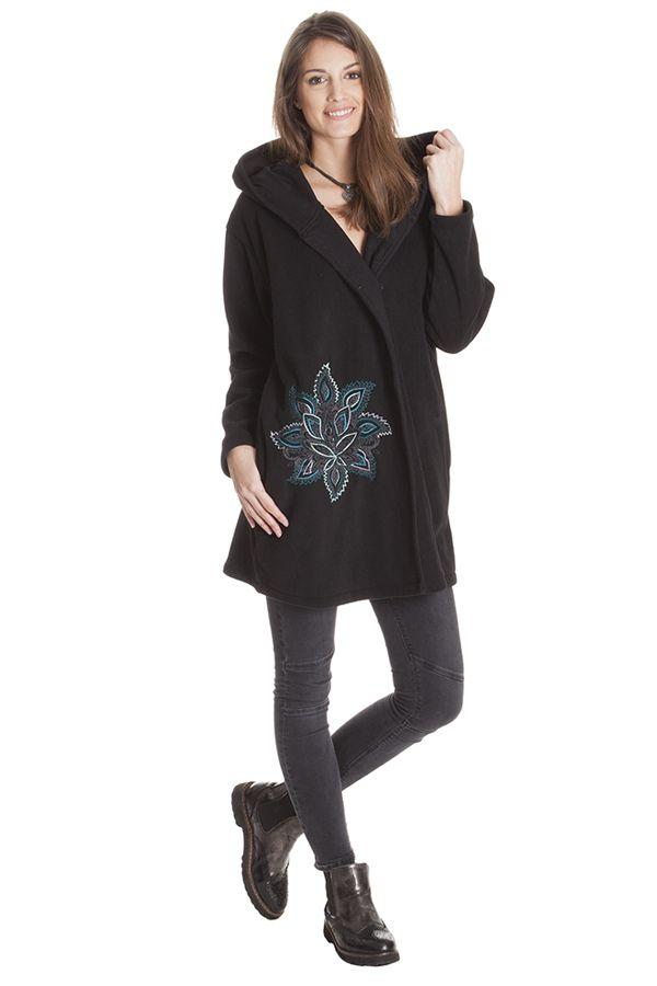 Manteau Noir en Polaire Collection Chic pour Femme Vanille 286861