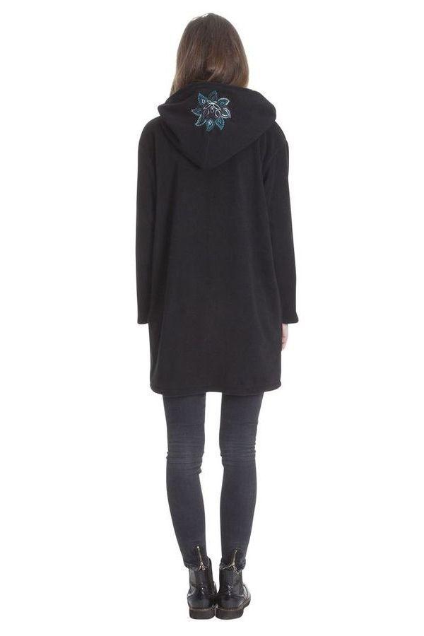 Manteau Noir en Polaire Collection Chic pour Femme Vanille 286862