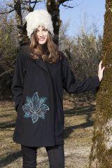 Manteau Noir en Polaire Collection Chic pour Femme Vanille 286863
