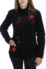 Manteau noir en velours côtelé pour femme 288083