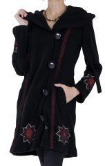 Manteau Noir Original et Ethnique en Polaire avec capuche Cortez 286886