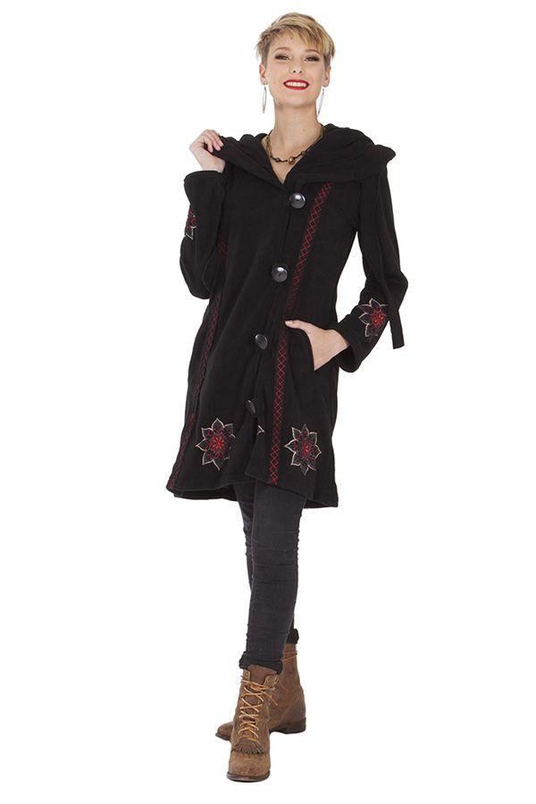 Manteau Noir Original et Ethnique en Polaire avec capuche Cortez 286887