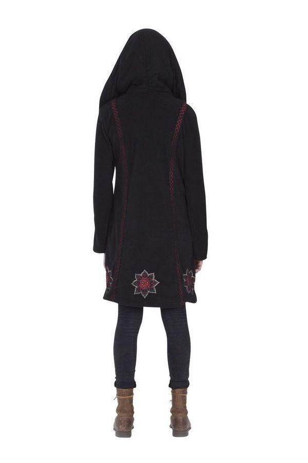 Manteau Noir Original et Ethnique en Polaire avec capuche Cortez 286888