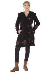 Manteau Noir Original et Ethnique en Polaire avec capuche Cortez 286889
