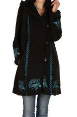 Manteau original long polaire à boutons et broderies Noir Magda 300694