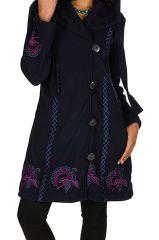 Manteau original long polaire à boutons et capuche Bleu marine Esperanza 300677