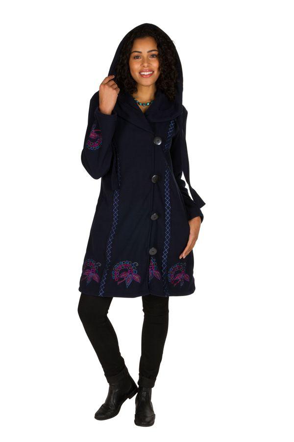 Manteau original long polaire à boutons et capuche Bleu marine Esperanza 300683